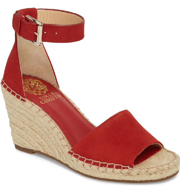 4e377279da8 Vince Camuto Leera Wedge Sandal In Cherry Red Leather