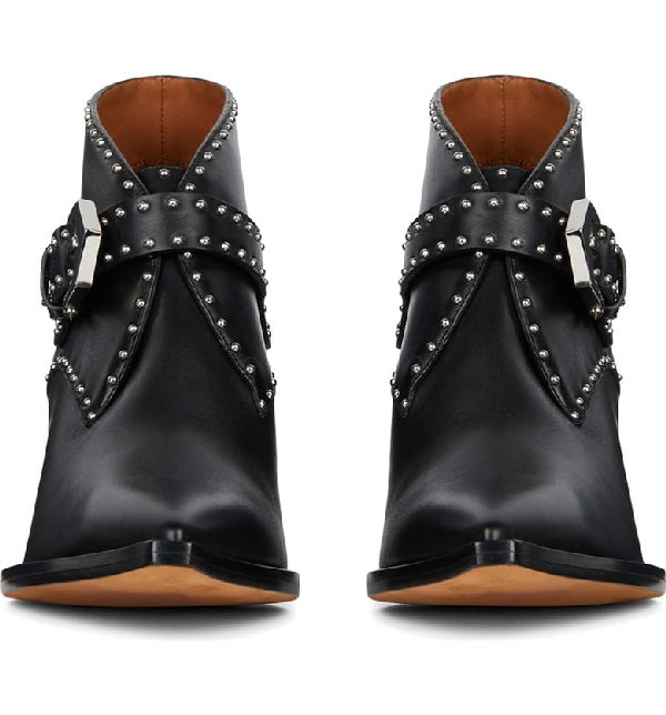 Givenchy Stud-Embellished Leather Cowboy Boots In Black