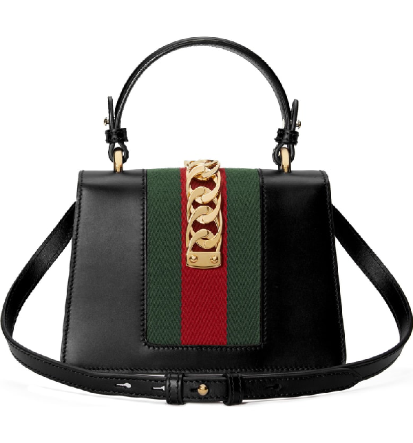 b46e97905 Gucci Sylvie Mini Chain-Trimmed Leather And Canvas Shoulder Bag In Black