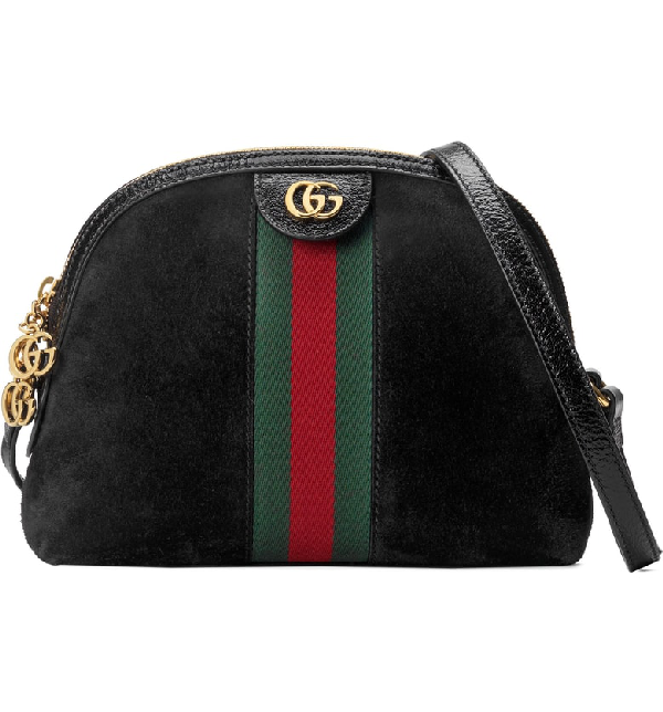 d126a0b22c7 Gucci Linea Dragoni Suede Small Chain Shoulder Bag In Black Suede ...