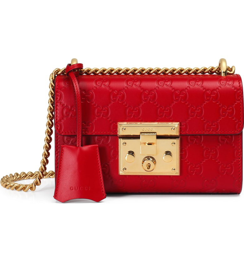 9457837ee63d Gucci Small Padlock Signature Leather Shoulder Bag In Hibiscus Red ...