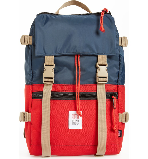 Topo Designs 'Rover' Backpack - Blue In Navy/ Red
