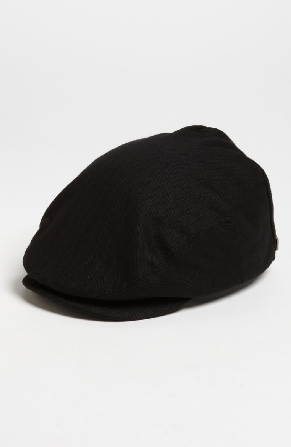 a001570f Brixton Hooligan Driving Cap - Black In Black Herringbone | ModeSens