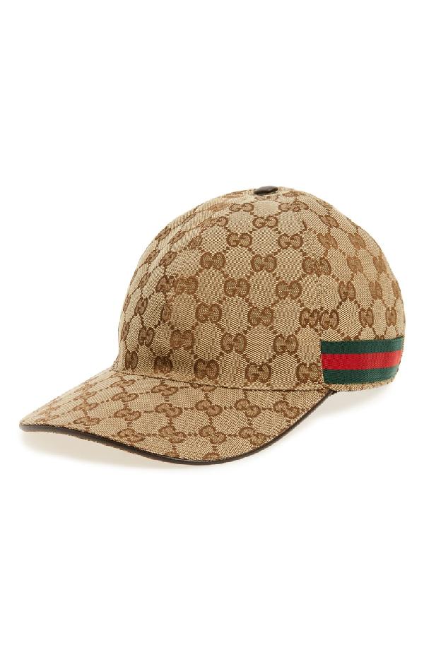 7ef8fc6501a Gucci Original Gg Canvas Baseball Hat With Web In Neutrals