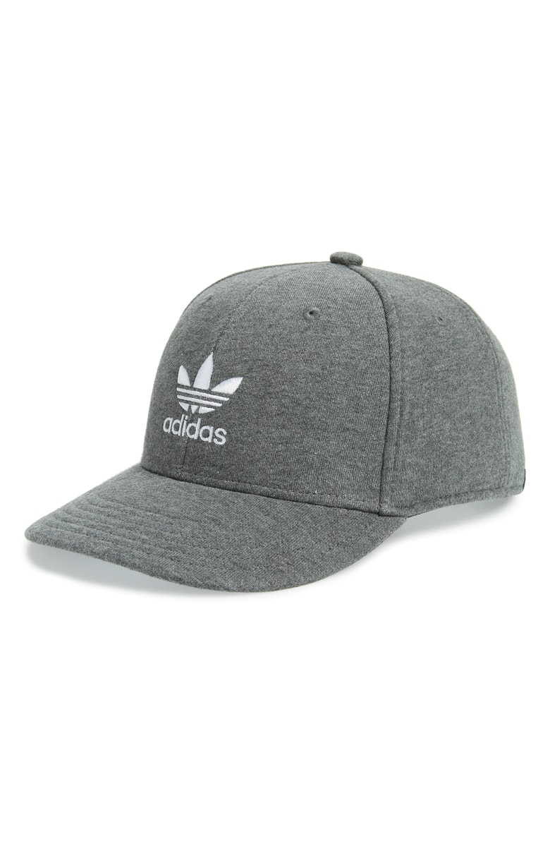 8d36f591a89 Adidas Originals Trefoil Snapback Baseball Cap - Grey In Dark Heather Grey   White
