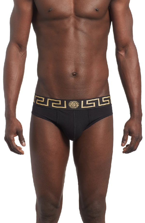 Versace Pack Of Two Iconic Slim-Fit Stretch-Cotton Briefs In Black