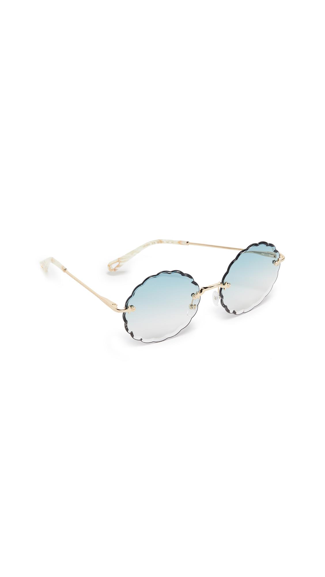 ccb8ba092852 ChloÉ Women s Rose Scalloped Rimless Round Sunglasses