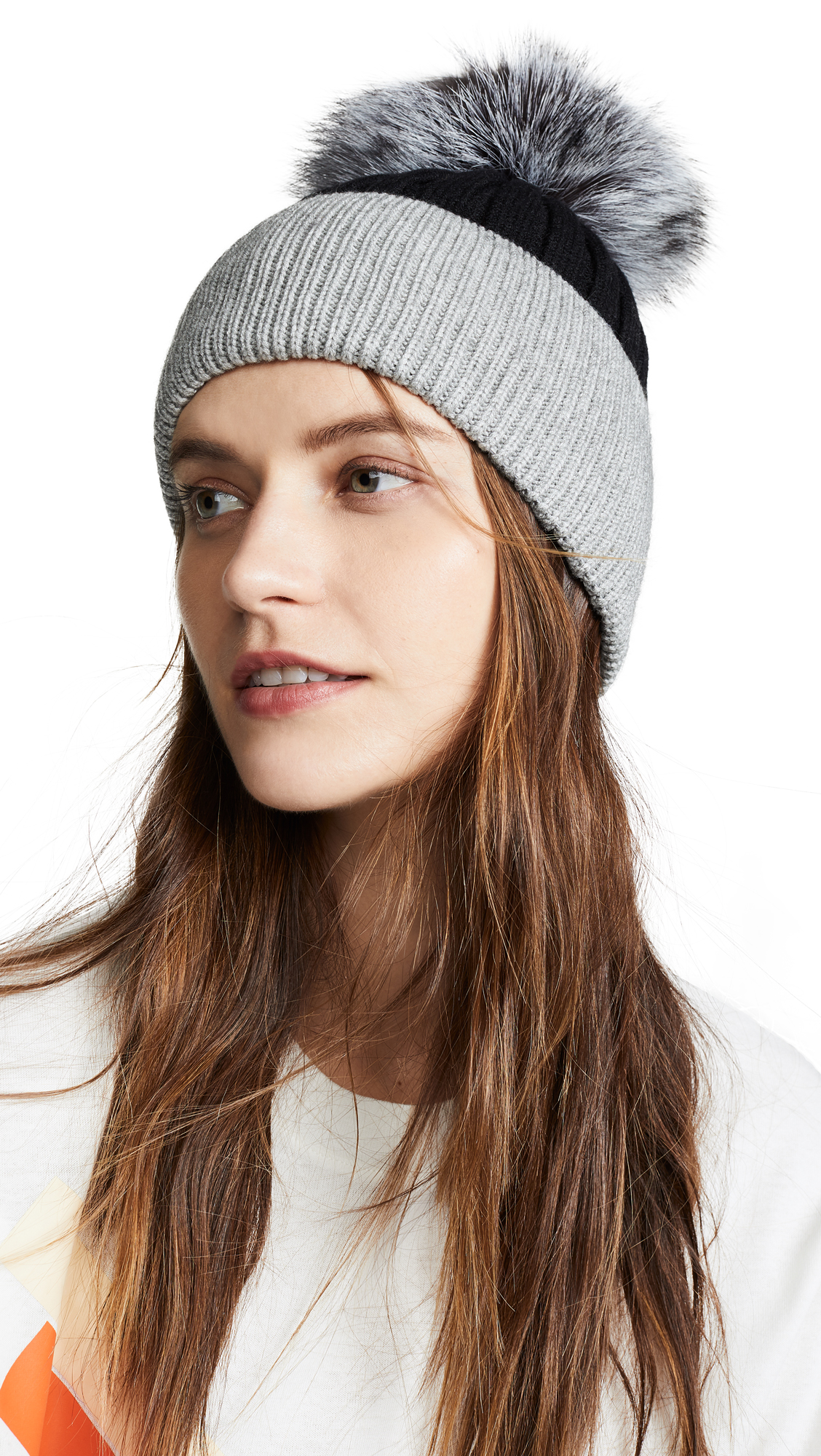 b539c75c620ed Jocelyn Knit Hat With Fur Pom In Black Grey