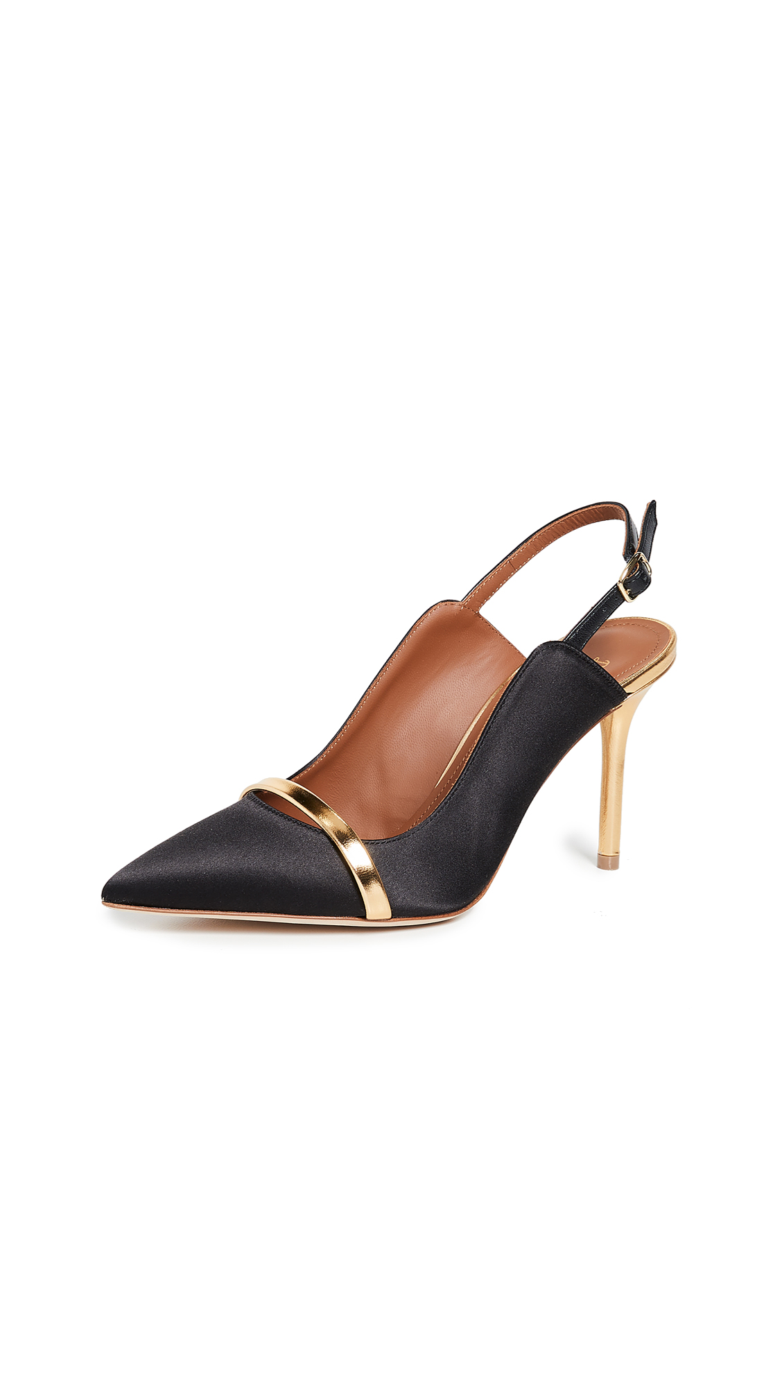 256a37752 Malone Souliers By Roy Luwolt Marion 85Mm Slingback Pumps In Black/Gold