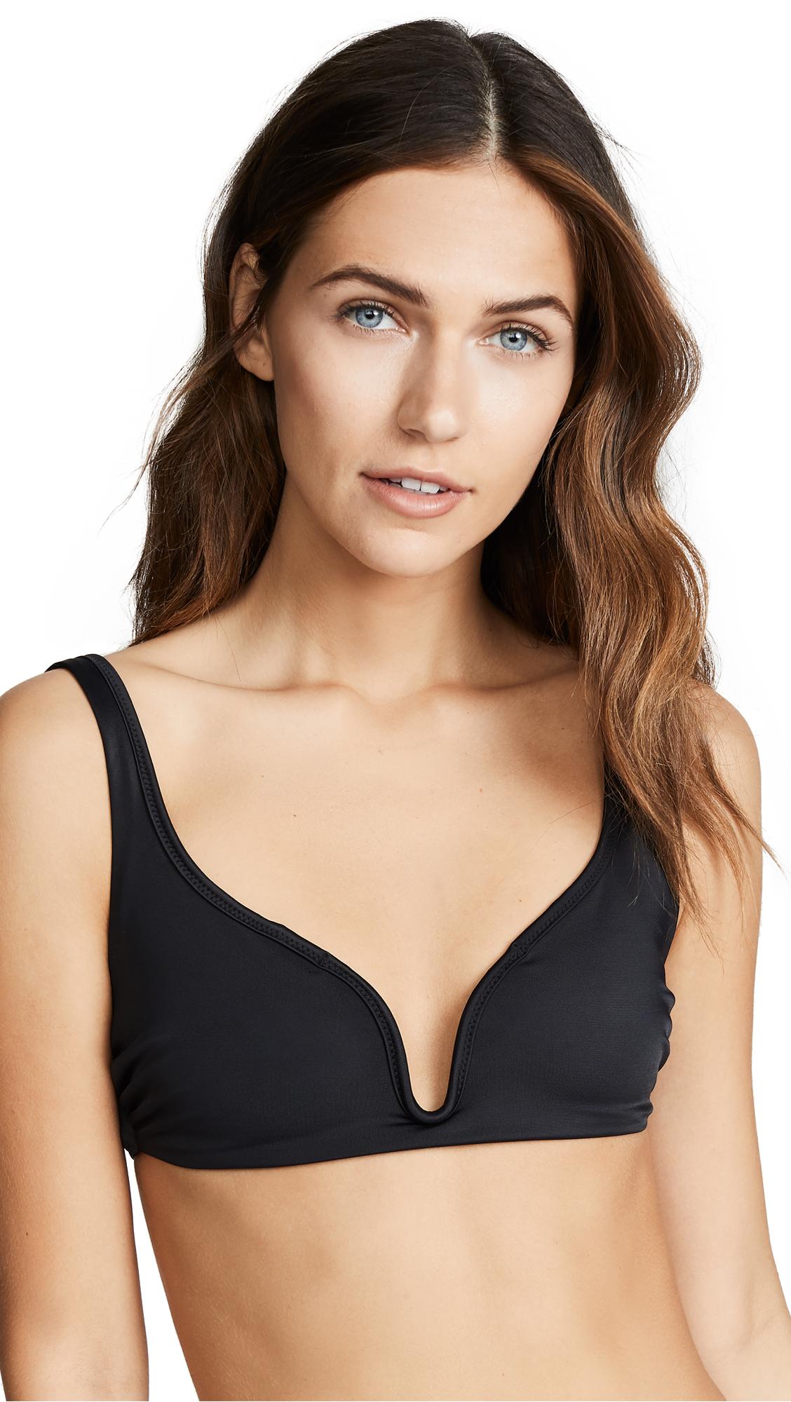 c0a9881f20f04a Tori Praver Swimwear Chloe Plunge Bralette Bikini Top In Black ...