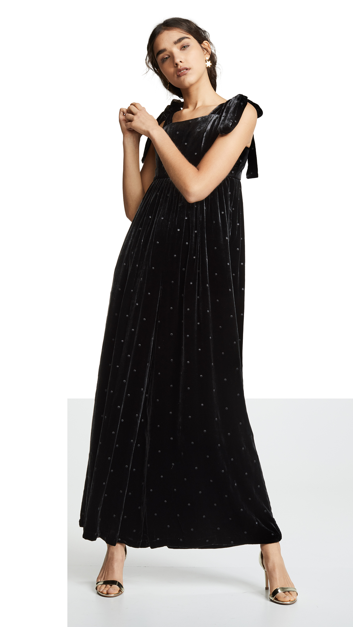 a38946bfd7a8 Ulla Johnson Minnet Bow-Embellished Swiss-Dot Velvet Jumpsuit In Black