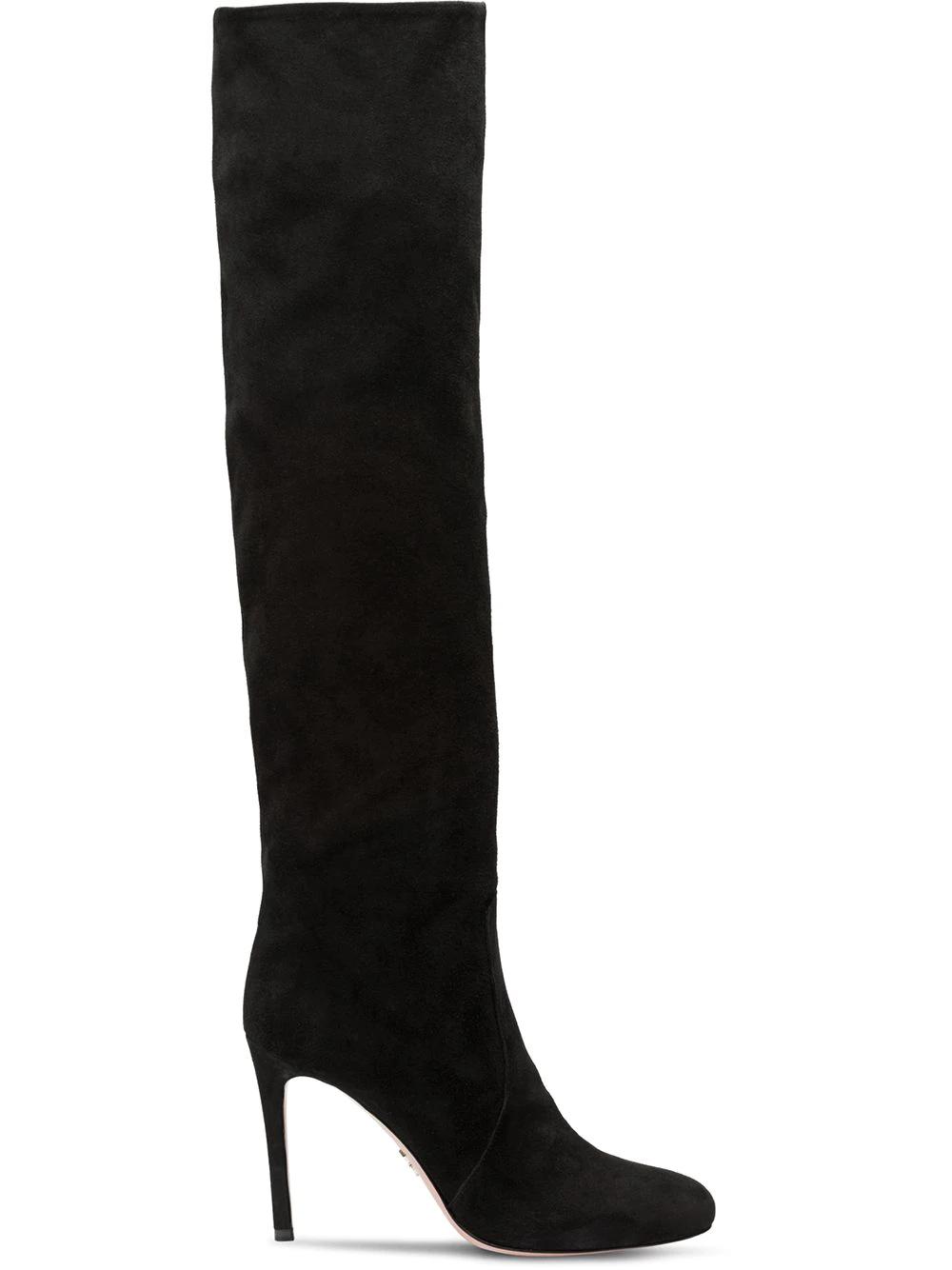 a7eb16e64ff Prada Suede Over-The-Knee Boot In Black