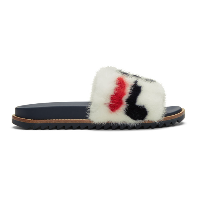 66a924b961af Fendi - Mania Mink And Leather Slides - Mens - White Multi In F14Zd ...