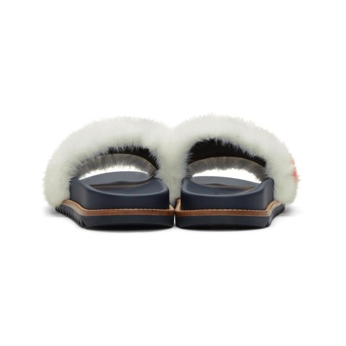 874024ea4821d Fendi - Mania Mink And Leather Slides - Mens - White Multi