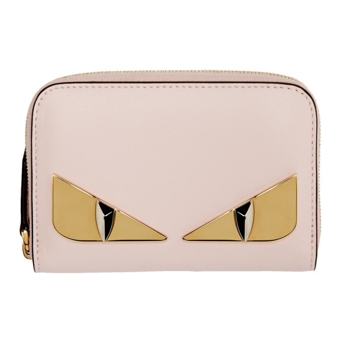 effa2450 Fendi Pink Small Bag Bugs Zip-Around Wallet in F13Dp Pink