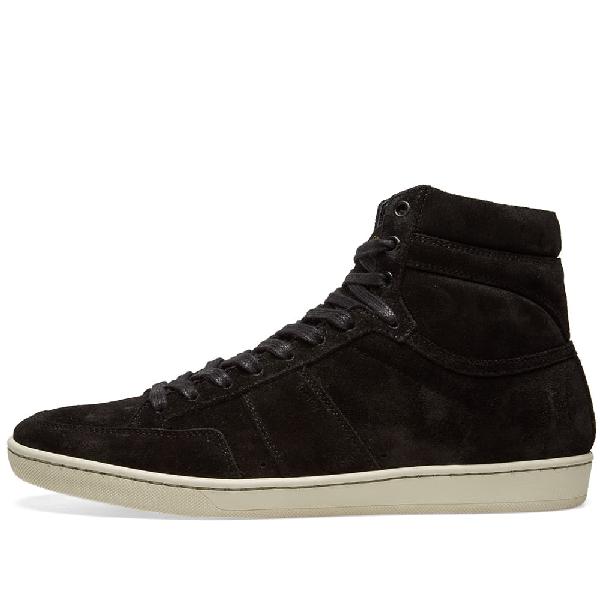 44039a679f3 Saint Laurent Black Suede Court Classic Sl/10H High-Top Sneakers ...