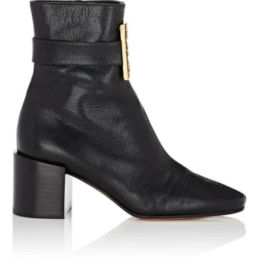 Givenchy Ankle Boots Be6000 Smooth Leather Clamp-Buckle Logo Black