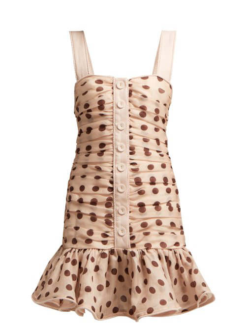 Zimmermann Nude Floral Corsage Linen And Silk-Blend Mini Dress In Pink