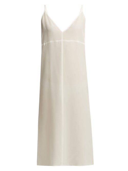 Ed Deep V Neck Silk Slip Dress In Ivory