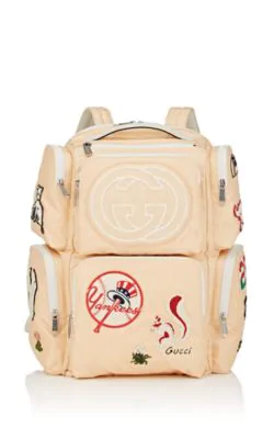 f1d31d41a7c Gucci Large Backpack With Ny Yankees Trade  Patches In Peach