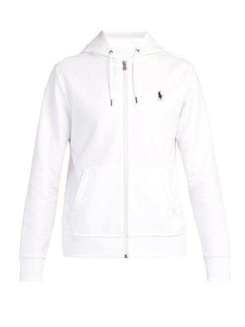 25a50053 Polo Ralph Lauren - Logo Embroidered Zip Through Hooded Sweatshirt - Mens -  White