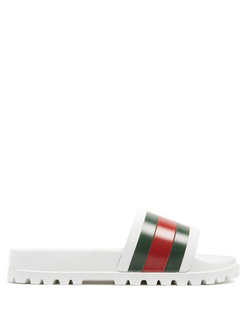 9c58a8b6c62 Gucci - Web Striped Rubber Slides - Mens - White Multi