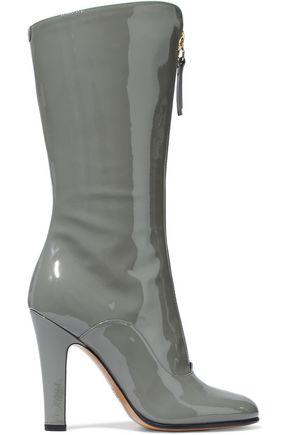 dceb3833bdf Valentino Garavani Woman Rebel Patent-Leather Boots Grey Green ...