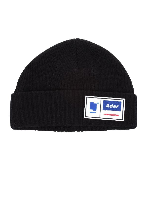 9b4681dd8b3 Ader Error Ribbed Logo Beanie Hat In Black