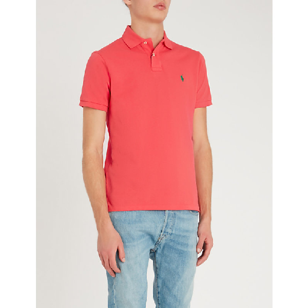 dfb5cc38b POLO RALPH LAUREN. Logo-Embroidered Custom Slim-Fit Cotton-Piqué Polo Shirt  in Cactus Flower