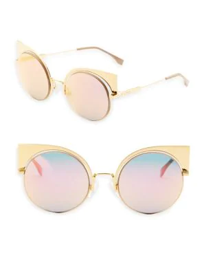 2e3a6e7bb0ea Fendi 53Mm Mirrored Cat S-Eye Sunglasses In Pink Gold