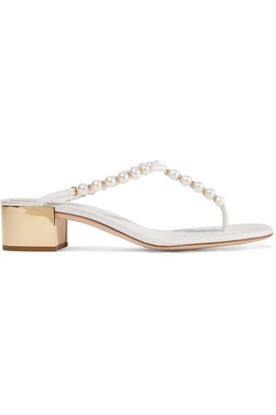 f493a6ef71e RenÉ Caovilla Eliza Embellished Leather Sandals In White