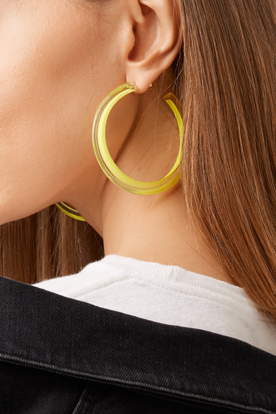 d5e2c6a15ad3c Medium Jelly Lucite And Enamel Hoop Earrings in Yellow
