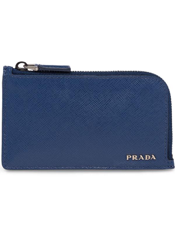a70558203ec7 Prada Zipped Cardholder Wallet - Blue In F0Cv5 Cornflower Blue + Papaya
