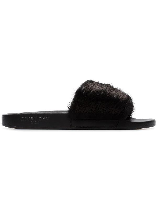 c42f9ac6b916 Givenchy Mink Fur Slide Sandals - Black