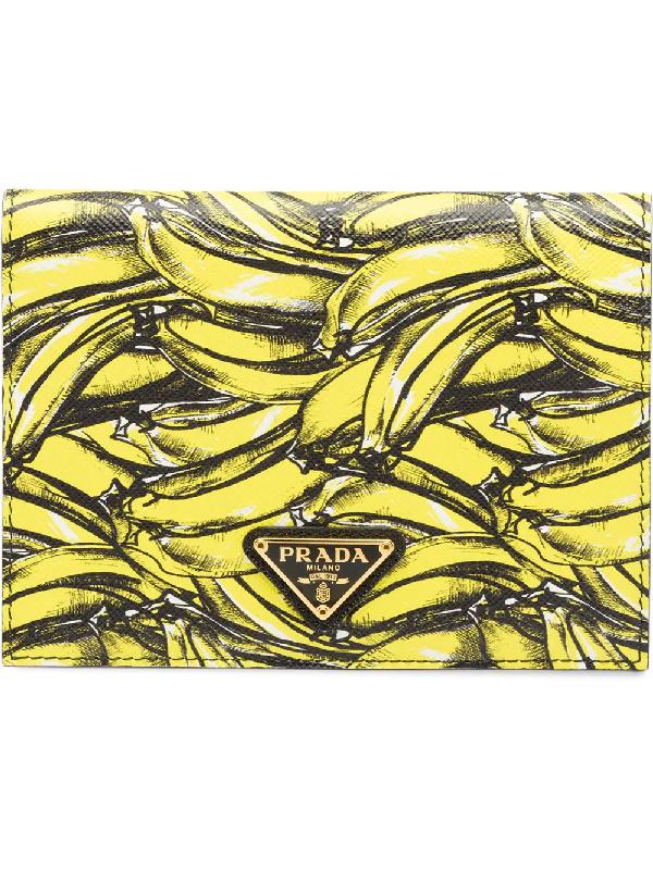 2e81248115bb Prada Banana-Print Saffiano-Leather Wallet In Yellow | ModeSens