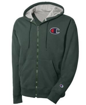 b62e10eda289 Champion Men s Logo Zip Hoodie In Dark Green