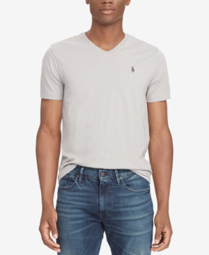 Men's Classic-fit V Neck T-shirt In Soft Grey