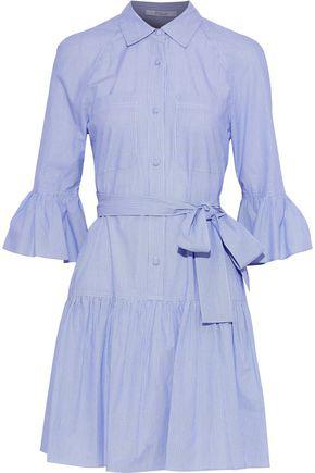 2d8dd34d9e5cc4 Derek Lam 10 Crosby Woman Belted Printed Cotton-Poplin Mini Shirt Dress  Light Blue