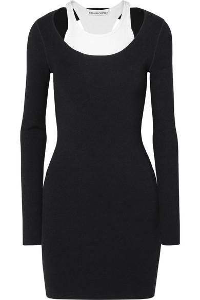 c6a562de7 Layered Ribbed Stretch-Jersey Mini Dress in Black