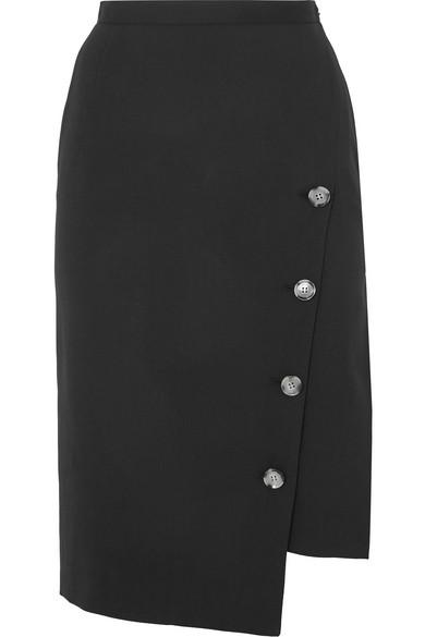 8b59a0135a7 Altuzarra Button Detail Slit Stretch Wool Pencil Skirt In Black ...