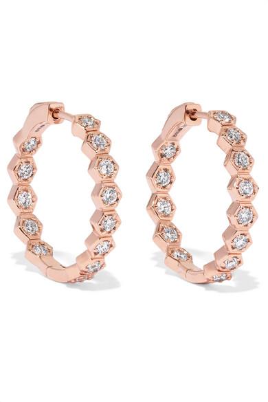 e1c646a87f74c Honeycomb 18-Karat Rose Gold Diamond Earrings