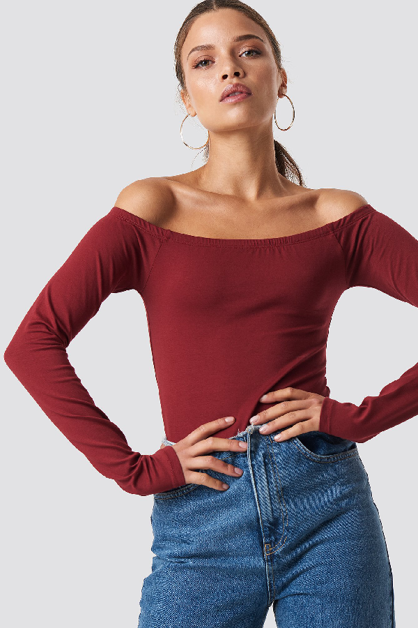 0b53ce018e4 Na-Kd Long Sleeve Off Shoulder Top - Red | ModeSens