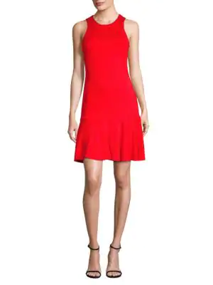 3256e851c5 Trina Turk Fantastic Knit Open-Back Flounce-Hem Dress In Pagoda Red ...