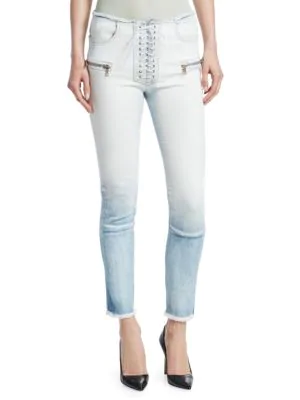 b60df2798df BEN TAVERNITI UNRAVEL PROJECT. Gradient Lace-Up Skinny Jeans in Blue White