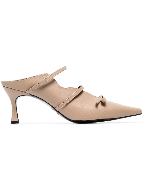 163d9a5c9 Yuul Yie Toffee Judith 70 Bow Embellished Pumps - Neutrals | ModeSens
