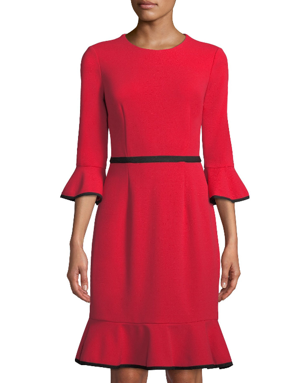 98952cabe41 Donna Morgan Bell-Sleeve Piped Crepe Sheath Dress In Red Black ...