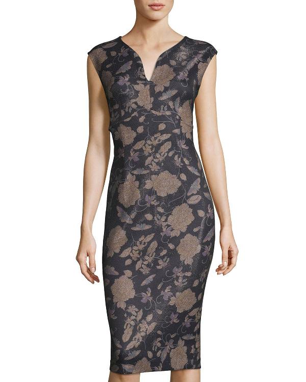 b3236df6 Label By 5Twelve Floral Bonded Scuba Crepe Sheath Dress In Black Pattern