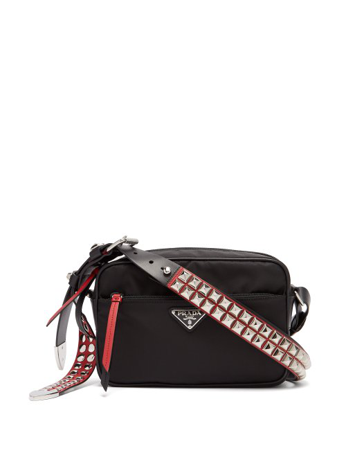 fd31c65369 Prada New Vela Studded Nylon Shoulder Bag In Black Red