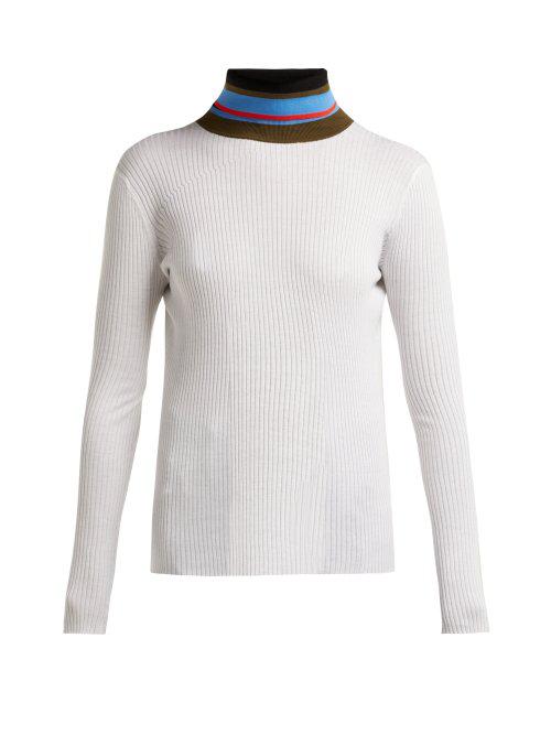 f9027fde33595b Proenza Schouler Pswl - Striped Roll Neck Cotton Sweater - Womens - Ivory  Multi