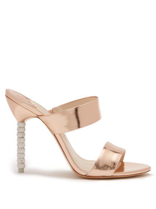 0efb7ca3594 Sophia Webster - Rosalind Crystal Embellished Leather Sandals - Womens - Rose  Gold